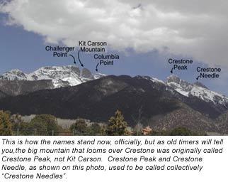 Crestone Peak or Kit Carson Mountain? Whatisthe correct name of that big flat-topped peak? (April 2008)