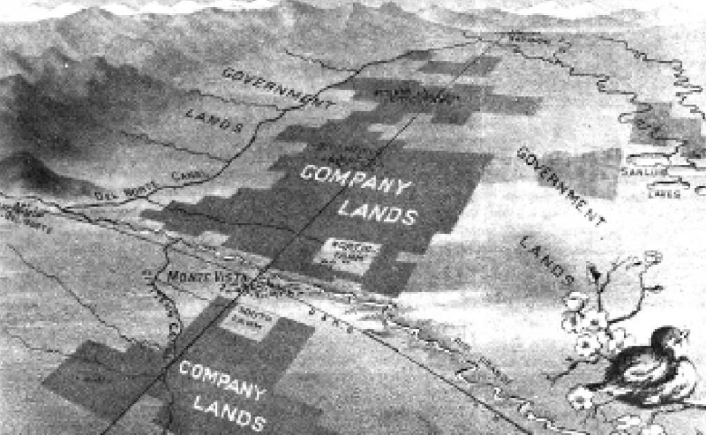 According to this map, T.C. Henry's agricultural projects would become the center of the universe, or of the San Luis Valley, at least. photo from The San Luis Valley: Land of the Six-Armed Cross